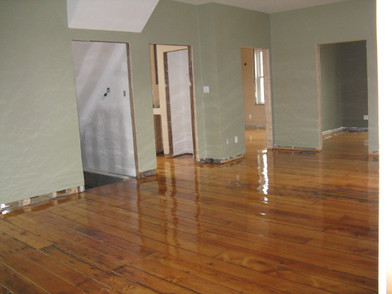refinished red pine floors